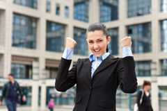 Victorious businesswoman Stock Image
