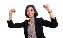 Victorious businesswoman isolated Royalty Free Stock Image
