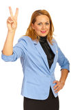 Victorious corporate woman Royalty Free Stock Image