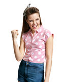 Victorious girl. Yeah! Royalty Free Stock Image