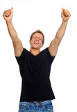 Victorious happy man Stock Photography