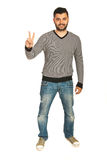 Victorious man in casual clothes Royalty Free Stock Photography