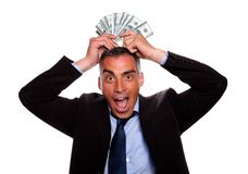 Victorious mature person with cash money Royalty Free Stock Photos