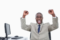 Victorious salesman with the fists up Stock Photo