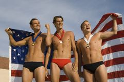 Victorious Swimming Champions Royalty Free Stock Photos