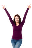 Victorious young woman celebrating her success Stock Images
