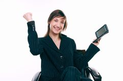Victory. Young business woman moment after success Stock Photos