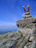 Victory. Sign on the highest rock at Semenic mountain (1446) against a clear blue horizon Stock Images
