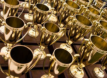 Victory. This image features a group of shining gold trophies symbolizing success and victory Royalty Free Stock Images