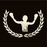 Victory. Emblem of boxer celebrating a victory Royalty Free Stock Image