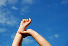 Victory #2. Victory sign by women hands Royalty Free Stock Image