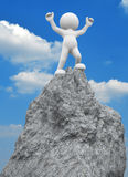 Victory. 3d people - human character ,  person on  top of the mountain - victorious .  3d render illustration Stock Photo