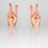 Victory. Two hands showing victory gesture stock photos