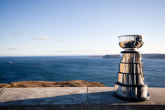 Victory. Silver trophy sited with a view of the ocean Stock Photos