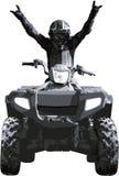 Victory!. Sportsman on quad bike celebrating victory royalty free illustration