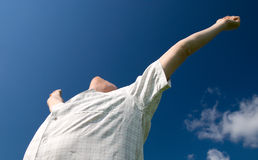 Victory. Happy man rise his hands Its victory royalty free stock photos
