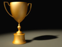 Victory. 3D Render of a Classic gold trophy cup on pedestal Royalty Free Stock Photo