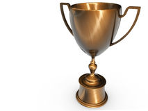 Victory. 3D Render of a Classic bronze trophy cup on pedestal Royalty Free Stock Photos