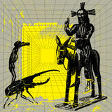 Victory. Vector picture with Jesus sitting on the donkey and devil going on the danger bug Stock Photos