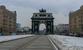 Victory Arch on Kutuzovsky in Moscow. Winter stock image