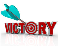 Victory Arrow in Word Succeed Triumph in Competition. The word Victory with an arrow hitting a bullseye in the letter O symbolizing the success and triumph of stock illustration