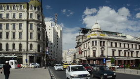 Victory Avenue In Downtown Bucharest stock footage