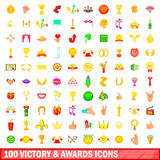 100 victory and awards icons set, cartoon style. 100 victory and awards icons set in cartoon style for any design vector illustration Royalty Free Stock Images