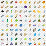 100 victory and awards icons set, isometric style. 100 victory and awards icons set in isometric 3d style for any design vector illustration Royalty Free Stock Images