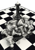The victory of the black chess pieces Royalty Free Stock Photos