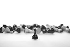 Victory of black pawn Royalty Free Stock Image
