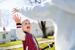 Victory blow with hands, brother,. Victory blow with hands of brother and sister for walk in park Stock Photography