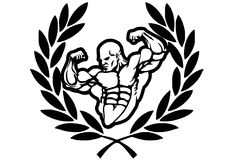 Victory bodybuilder. Isolated on a white.illustration Royalty Free Stock Image
