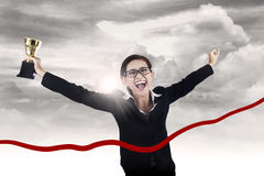 Victory of businesswoman Stock Photo