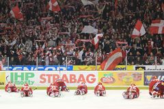 Victory celebration of Slavia Prague team Stock Image