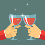 Victory Celebration Success and Prosperity Symbol. Hands Holds a Glasses with Drink Icon on Stylish Background Modern Flat Design Vector Illustration Royalty Free Stock Photography