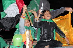 Victory celebrations in Gaza. After the war end royalty free stock image