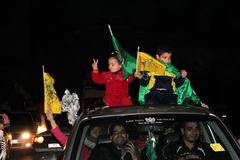 Victory celebrations in Gaza stock images