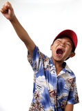 Victory cheer. Boy raising his fist in a Victory cheer royalty free stock photo