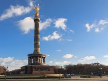 Victory Column, Berlin. View of Berlin's famous Victory Column showing bronze sculpture of Victoria designed by Heinrich Strack Stock Photos