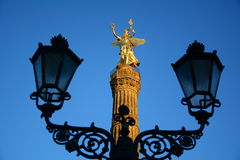 Victory column. In Berlin with blue sky and street-lamps Stock Photography