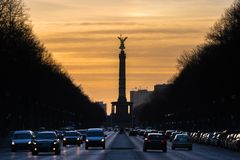 Victory column berlin germany winter evening royalty free stock image