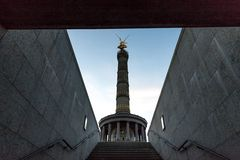 Victory column berlin germany winter evening stock photos