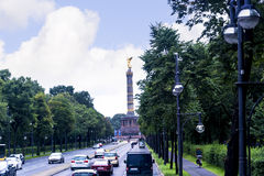 The Victory Column or Siegessäule is a famous sight in Berlin. It was designed after 1864 to remember Prussia winning the Danish-Prussian war. By the time it stock photo