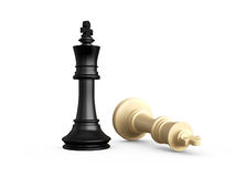 Victory Concept. Victory, dark pawn defeats light chess piece, pawn, isolated on white background Royalty Free Stock Images