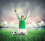 Victory. Concept of victory with soccer player cheering stock photos