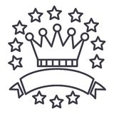 Victory,crown with stars and ribbons vector line icon, sign, illustration on background, editable strokes Royalty Free Stock Photography