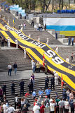 Victory day. 08.05.10. Ukrain. Сity Odessa.   Preparation to the holiday of Victory. Potemkinskaya  stair. Greatest in the world Georgievskaya ribbon. Size Stock Photo