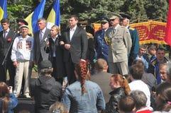 Victory Day in Belaja Tserkov. U microphone presidential candidate Yulia Tymoshenko Stock Photos