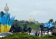 Victory Day beröm i Kyiv, Ukraina Arkivfoton