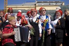 Victory Day beröm i Moskva Royaltyfria Foton
